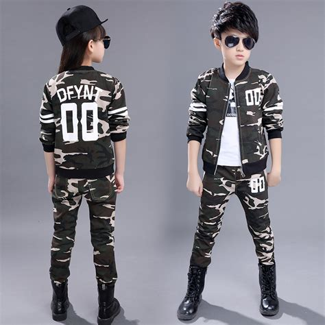 Sweter Boy Army Ab 2016 clothing set autumn boys suits camouflage army tactical cargo