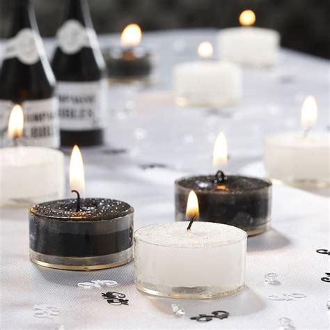Tea Light Candles Uk by Black And White Glitter Tea Light Candles Confetti Co Uk