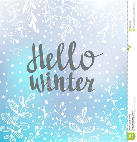 up letter to winter typography card hello winter lettering on