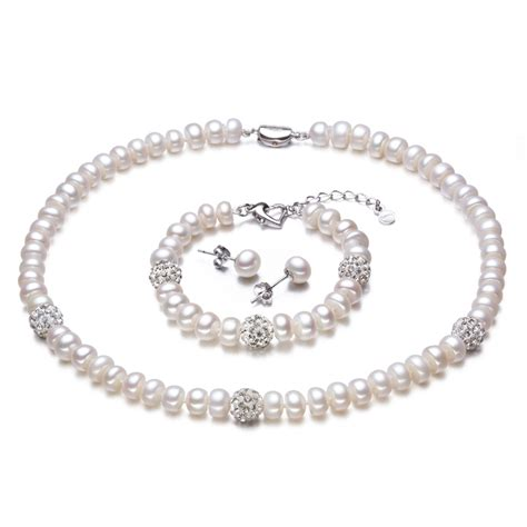 Pearl White Color Necklace 2016 new white color pearl necklace sets 8 9mm white pearl jewelry gold plated real
