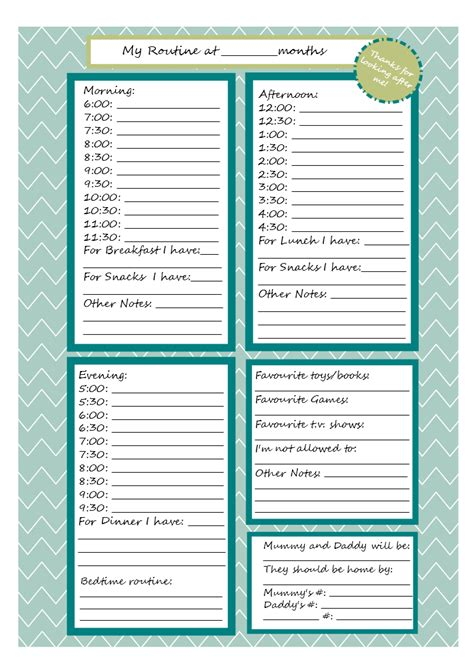 printable daily schedule babysitter incomplete guide to living printable babysitter note sheet