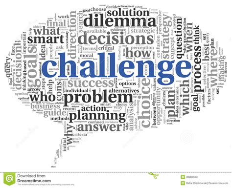 word challenge challenge concept in word tag cloud stock illustration
