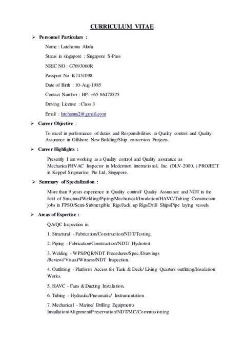Qc Welding Inspector Sle Resume by Sle Resume For Welding Position Size Of