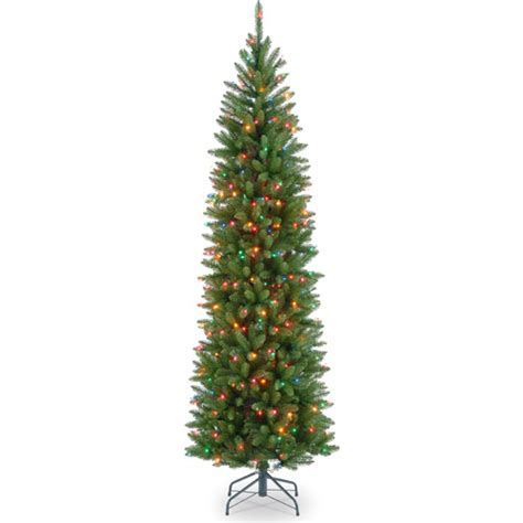 pencil tree walmart national tree pre lit 7 5 kingswood fir pencil multi