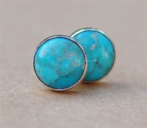 Handmade Stud Earrings - turquoise stud earrings handmade with sterling silver