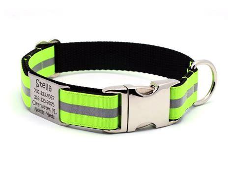 personalized reflective collars neon yellow reflective collar with built in personalized nameplate flying