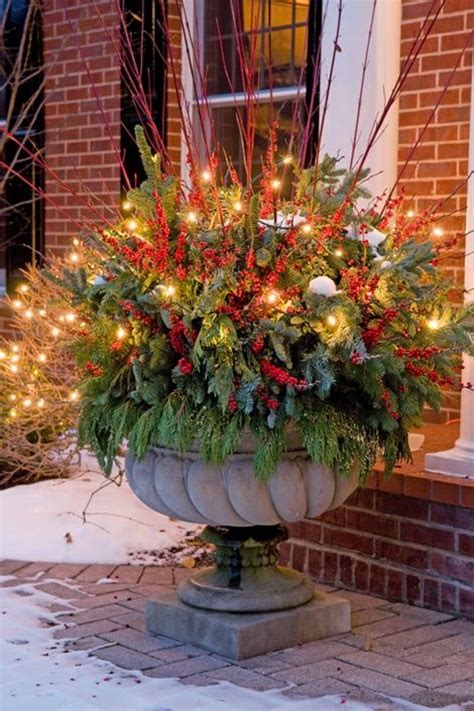 images of outdoor christmas urns holiday urn holiday pinterest