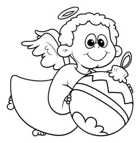 little angels coloring pages angels little angels with christmas tree ball coloring