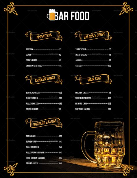 Pub Menu Design Template In Psd Word Publisher Illustrator Indesign Pub Menu Template