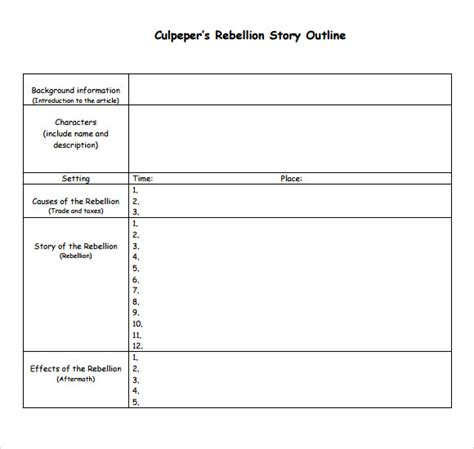 novel outline template story outline sle 9 documents in pdf word