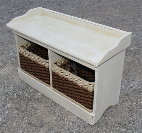 bench baskets bench distressed small wood bench w cubby baskets