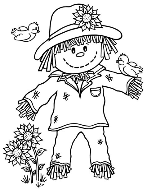 printable scarecrow coloring pages coloring me