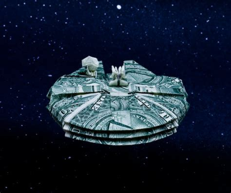 Millennium Falcon Origami - 12 impressive dollar bill origami creations photos