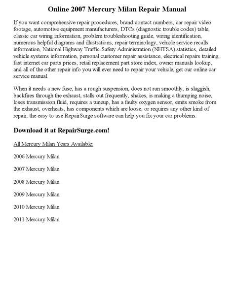 2007 mercury milan repair manual online by newyork444 issuu