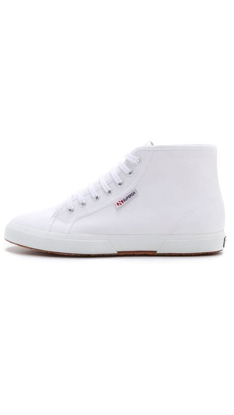 superga white sneakers lyst superga 2095 cotu high top sneakers in white for