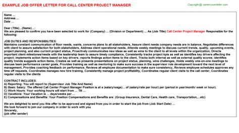 Offer Letter Format Call Center Call Center Project Manager Offer Letter