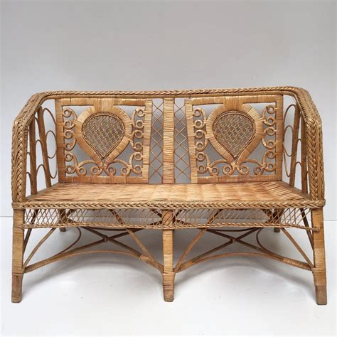 rattan settee vintage rattan wicker settee sofa and armchair set