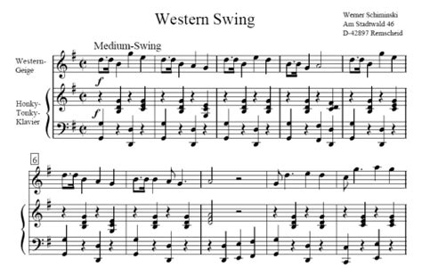 country swing music western swing werner schiminski sheet music to download