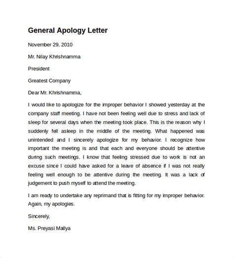 Apology Letter Pdf Sle Letter Of Apology 9 Free Documents In Word Pdf