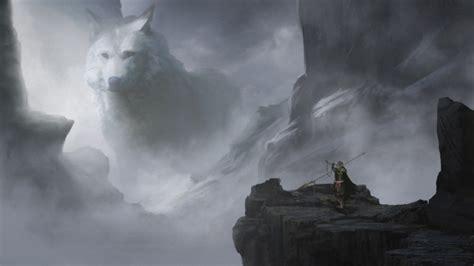 wallpaper giant white wolf fantasy creature spear