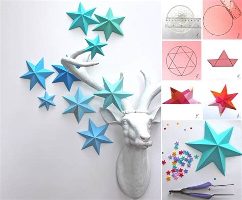 creative ideas diy 3d paper star ornaments