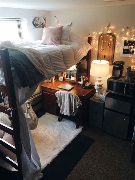 cute dorm room bed organization  study desk
