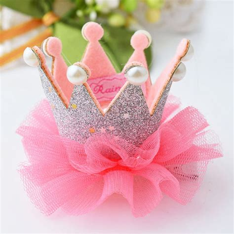 Hair Dryer On Crown Princess 1 pcs baby crown princess hair clip lace pearl
