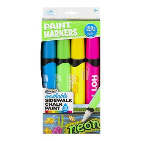 chalk paint in ct roseart washable sidewalk chalk paint neon 4 ct hy vee