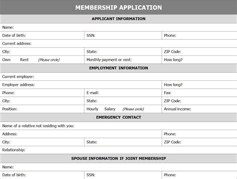 membership card template excel membership application form application for membership form