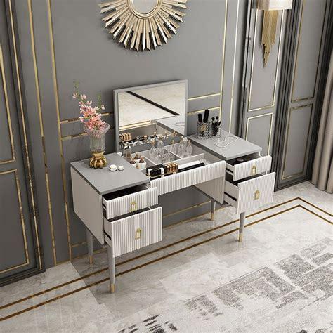 luxury  drawer makeup vanity table  flip top mirror