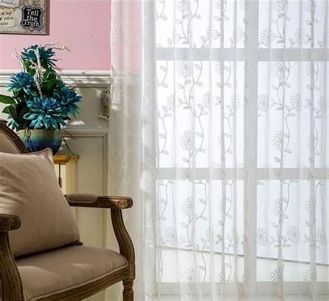 roman style curtains embroidered voile curtains flower tulle window curtain