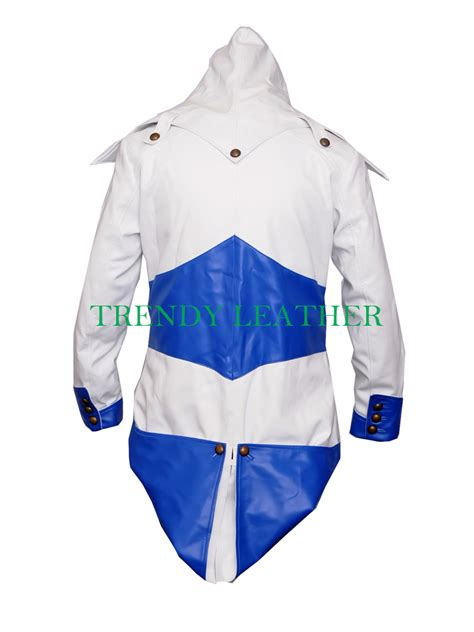 Jaket Hoodie Assassins Cred Wisata Fhasion Shop assassin creed 3 white blue leather hoodie jacket costume