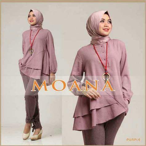 Baju Setelan Wanita Muslim Polos Celana Dan Blouse Kiya Set baju setelan fashion celana modis terbaru 3 in 1 murah