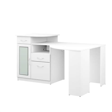 Bush Vantage Corner Home Office Computer Desk In Pure White Corner Computer Desks For Home