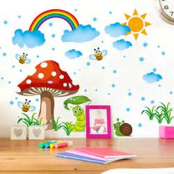 Cartoon Wall Stickers cartoon wall stickers home decor diy mushroom bees the rainbow wall