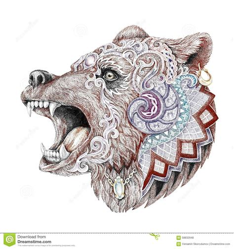 dotwork tattoo head enraged bear stock illustration