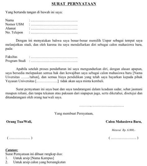 Sk Ii Di Counter Resmi contoh surat pernyataan calon mahasiswa baru resmi dalam