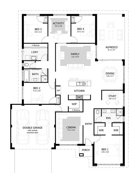 appealing four bedroom house plans 4 bedroom ranch house