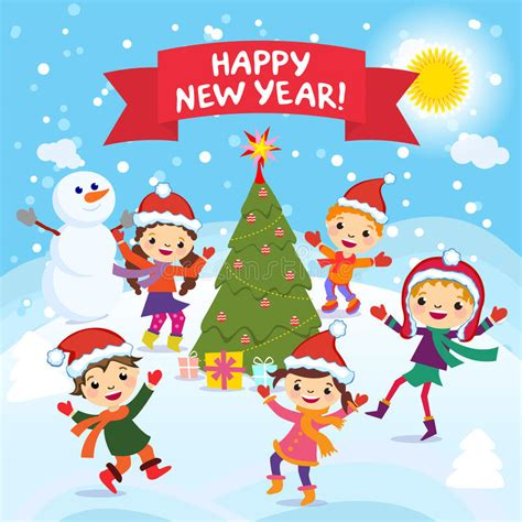 new year kid vector happy new year 2017 winter cheerful in