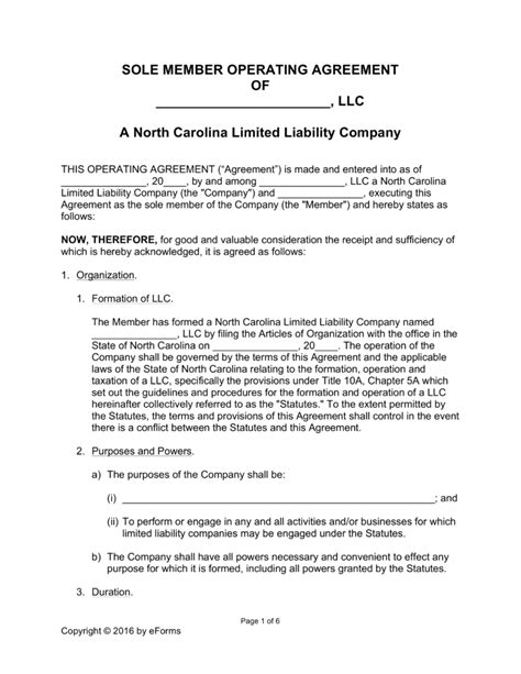 Llc Withdrawal Letter Template Free Carolina Llc Operating Agreement Forms Word Pdf Eforms Free Fillable Forms