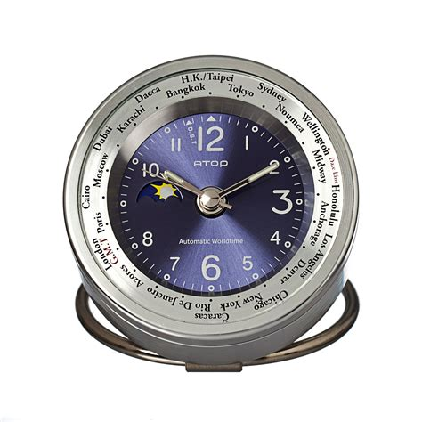 atop world time alarm clock silver blue atop clocks touch of modern