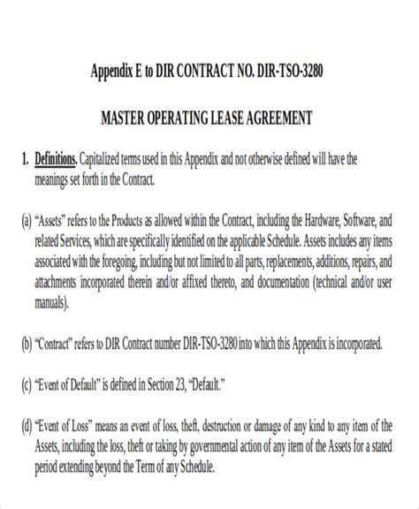 operating lease agreement template 7 master lease agreement sle exles in word pdf
