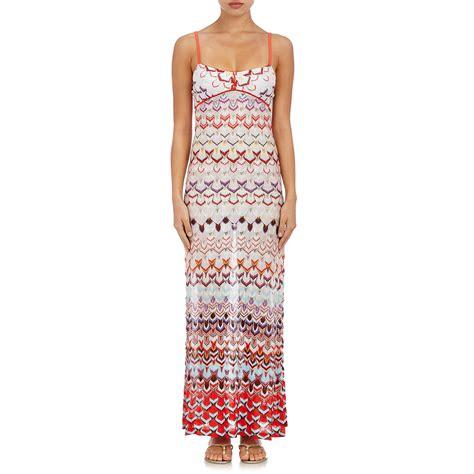 knit maxi dresses lyst missoni s knit maxi dress in white