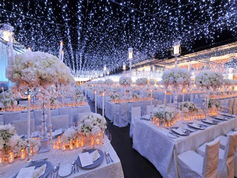 Silver christmas table decorations, night time wedding