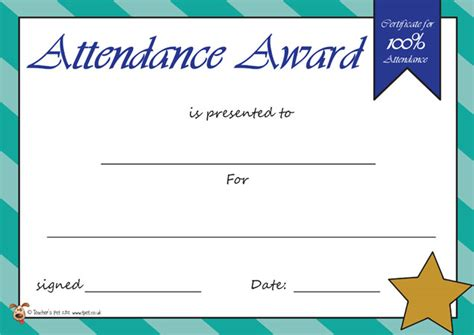 attendance award template search results for 100 attendance certificate to print