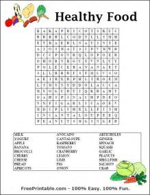 Healthy food word search printable along with health and wellness