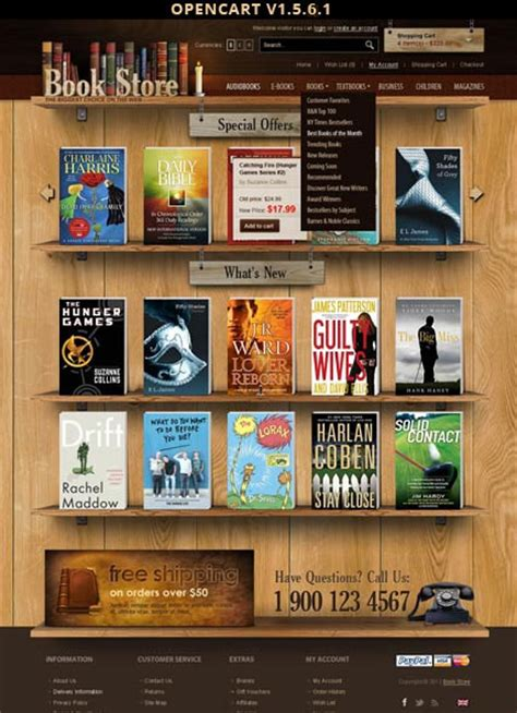 Opencart Bookstore Template book store opencart template id 300111402 from