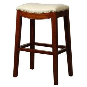 Beige Leather Counter Stools by Elmo Bounded Leather Counter Stool