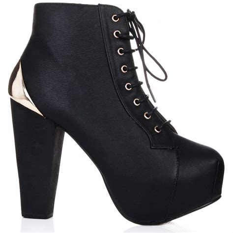 buy kookie block heel platform ankle boots black leather