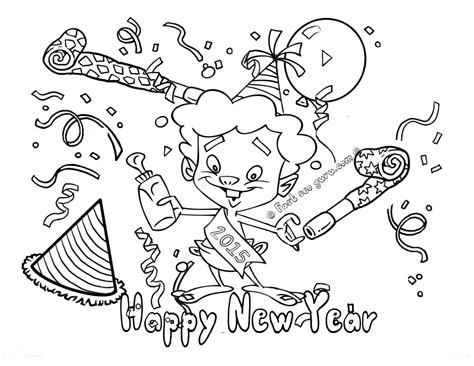 Print Out Happy New Year Coloring Pages 2015 Happy New Year Coloring Pages